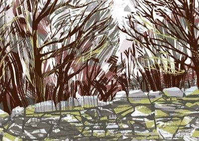 Stone, trees and snow